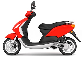 the profile of a red scooter